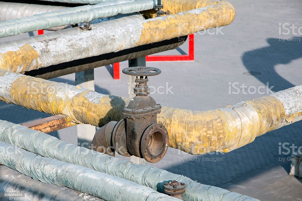 Piping,Old Coal-gas Factory in Beijing,China stock photo