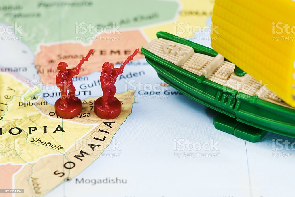 Piracy off the Somali coast, World Conflicts Theme - V stock photo