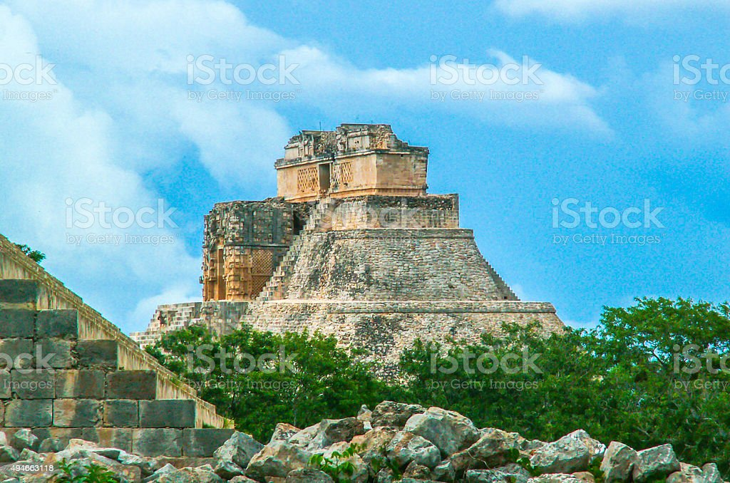 Piramide of Uxmal, Mexico stock photo