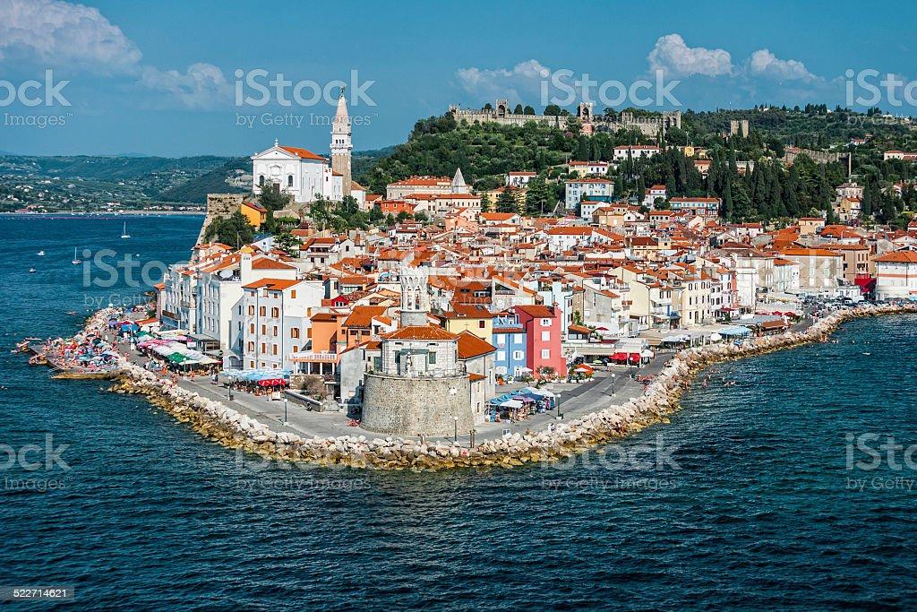 Piran on the Slovenian Coast stock photo