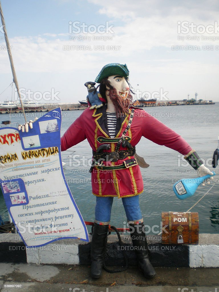 Pirate advertises boat trips in Yalta stock photo