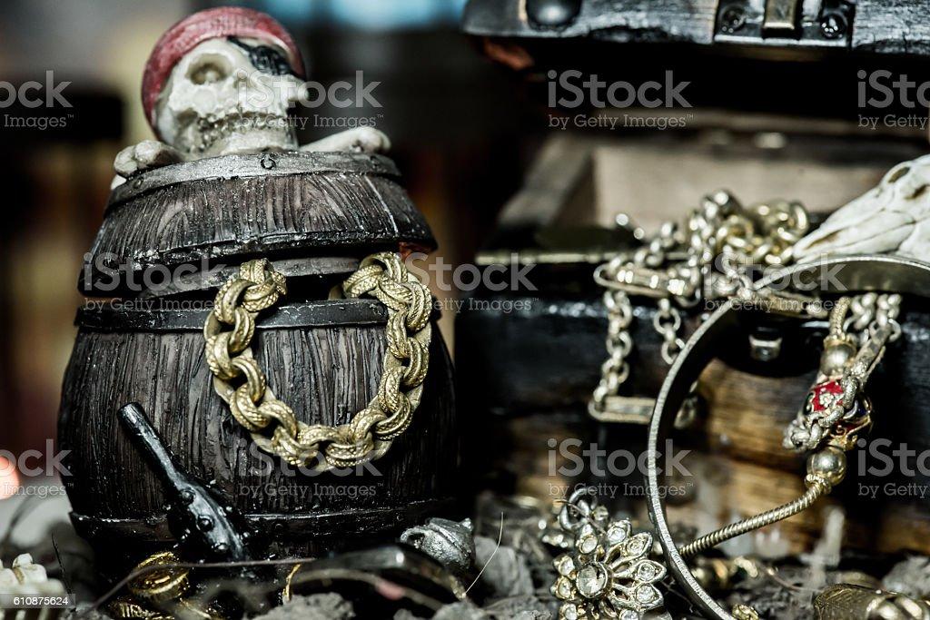 pirate and treasure, Columbus Day stock photo