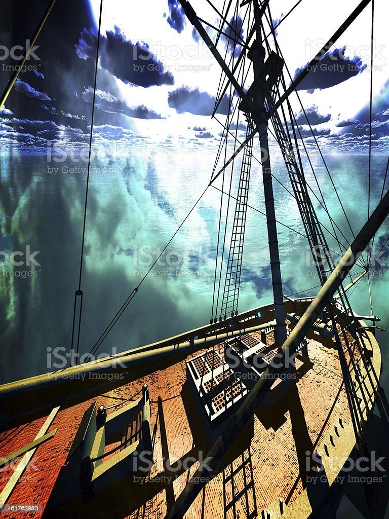 Pirate brigantine stock photo