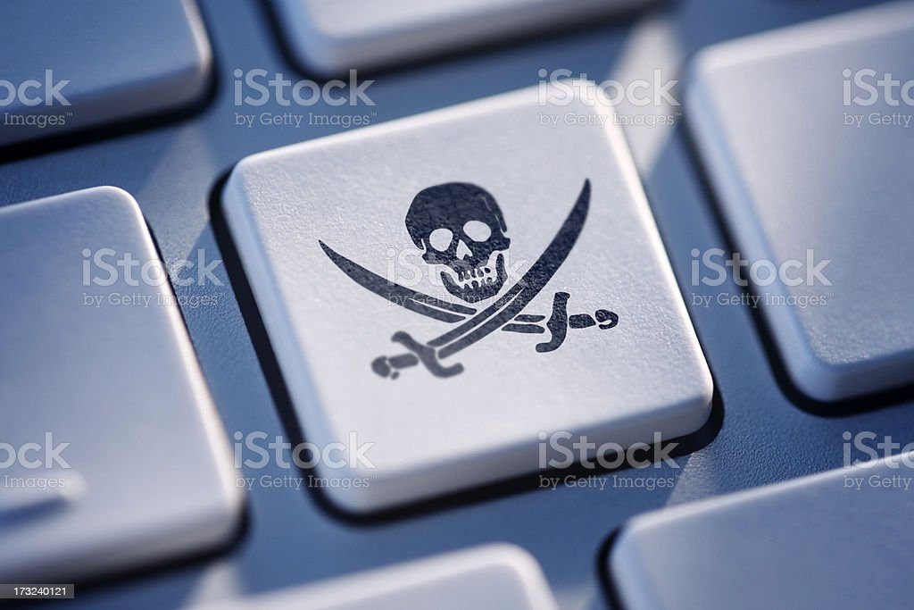 Pirate Button On Computer Keyboard stock photo