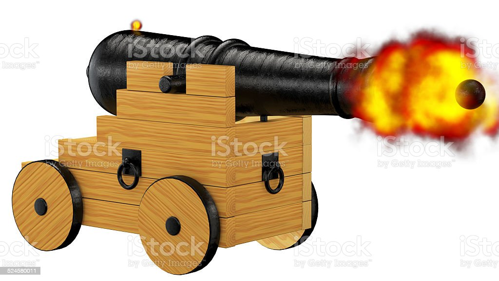 Pirate cannon firing stock photo