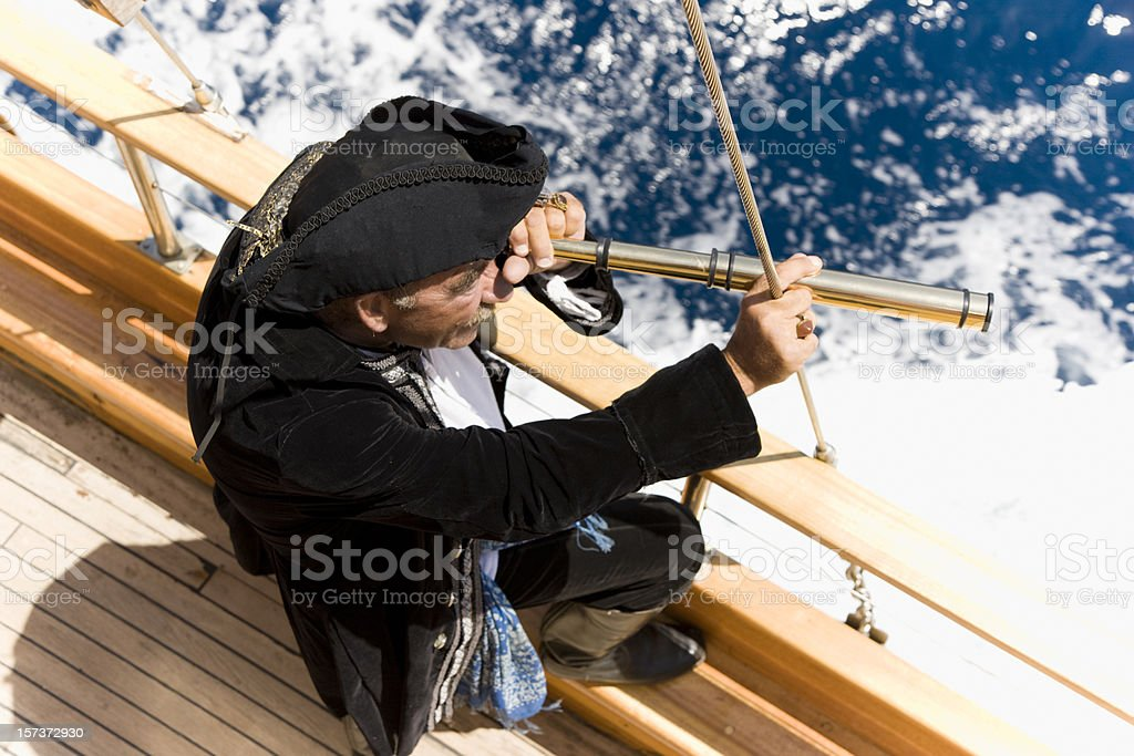 pirate captain hunting stock photo