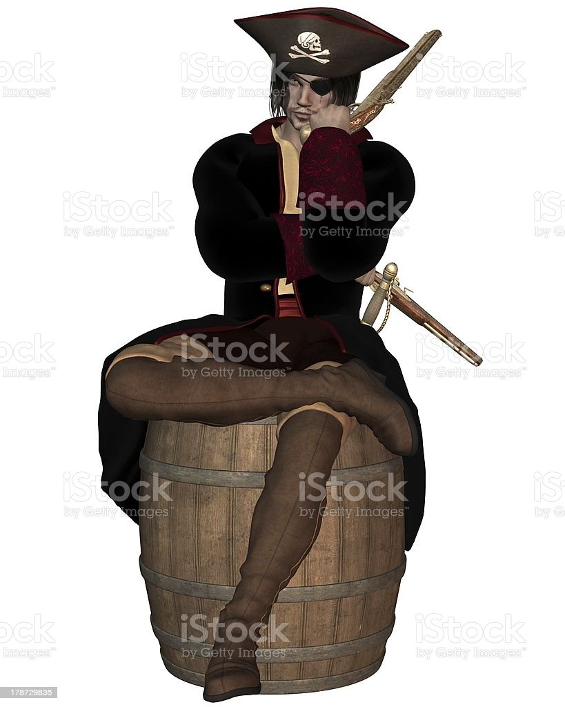 Pirate Captain sitting on a Barrel royalty-free stock photo