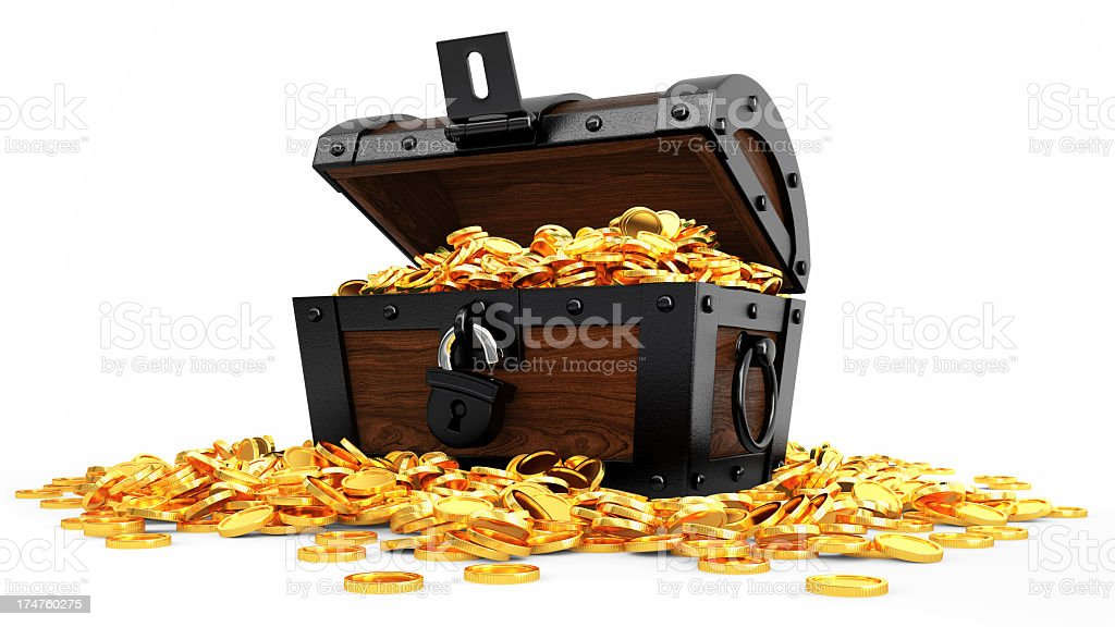A pirate chest is overflowing with gold coins stock photo