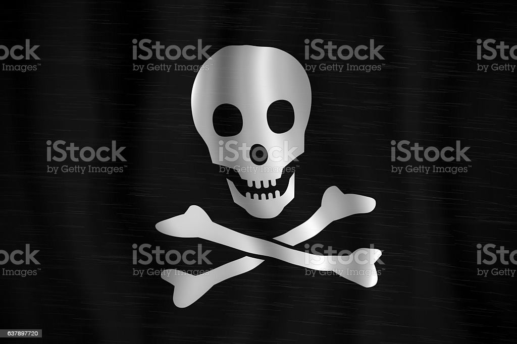 Pirate Flag in rain stock photo