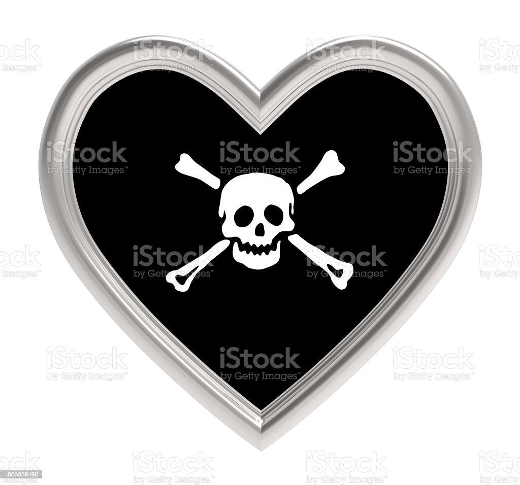 Pirate flag in silver heart isolated on white background. stock photo