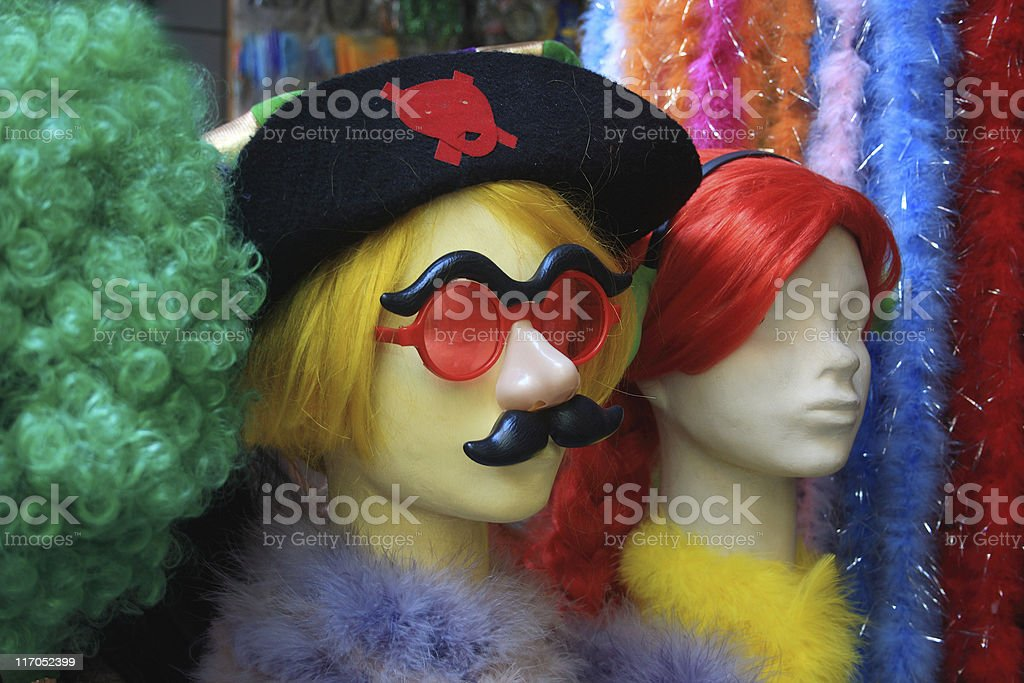 Pirate hat, wigs, moustache and more royalty-free stock photo