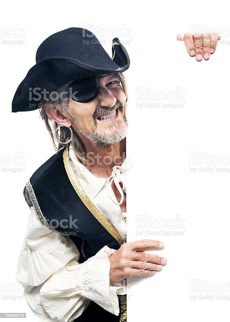 Pirate holding sign stock photo