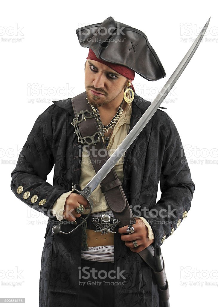 Pirate in Black - with Drawn Sword stock photo