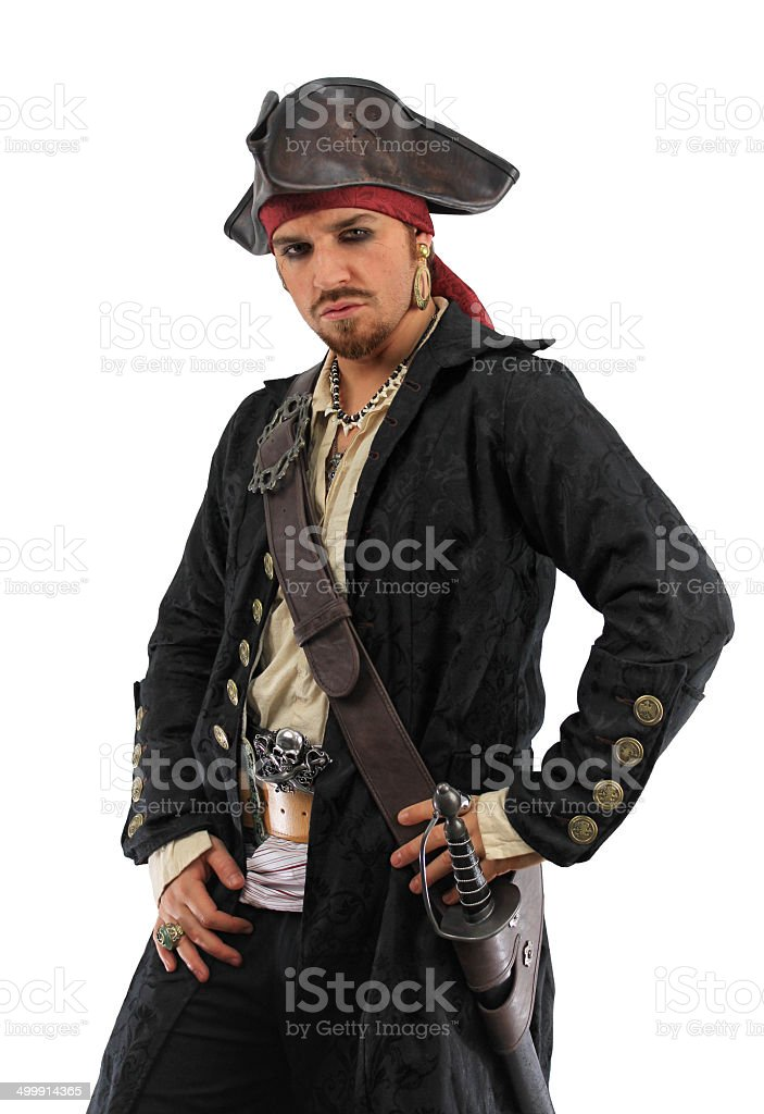 Pirate in Black with Hand on Hip stock photo