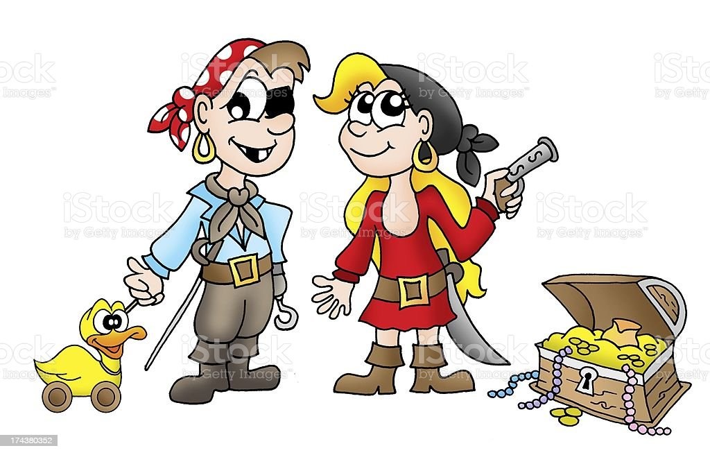 Pirate kids with duck and treasure royalty-free stock vector art