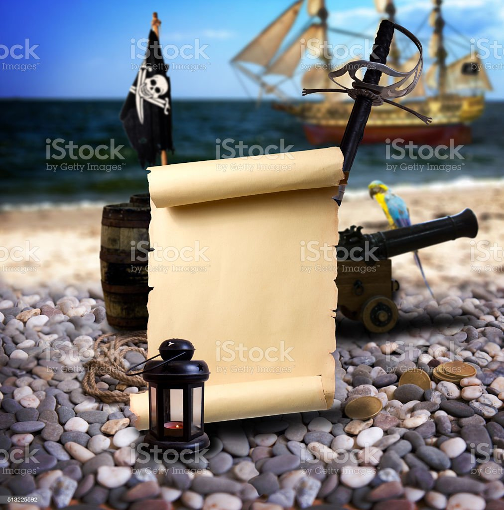 Pirate landscape on the beach stock photo