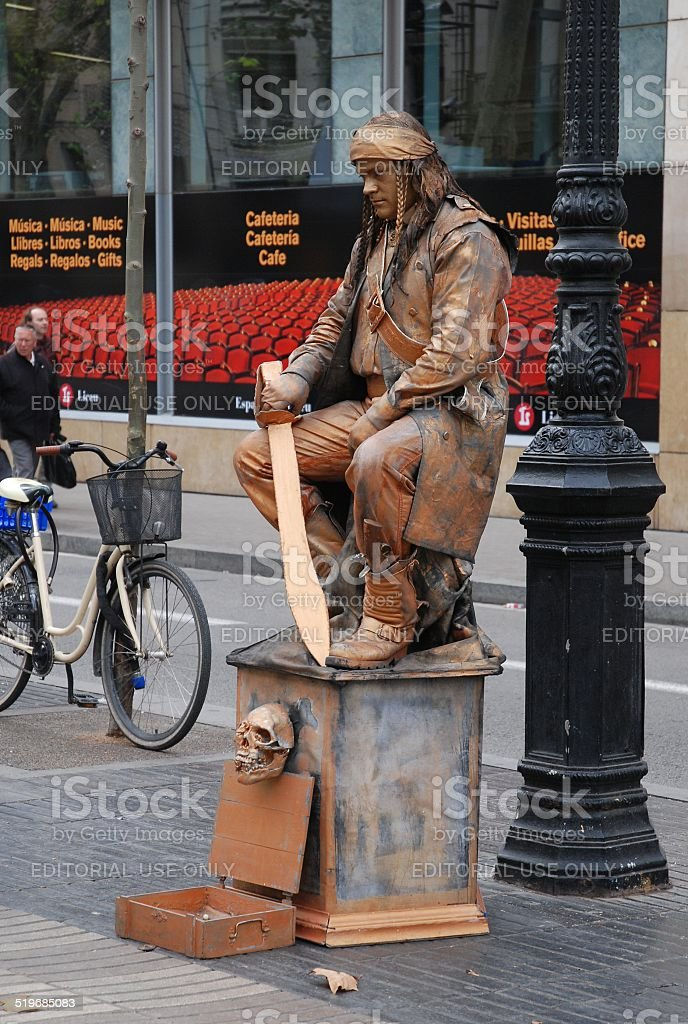 Pirate Living Statue royalty-free stock photo