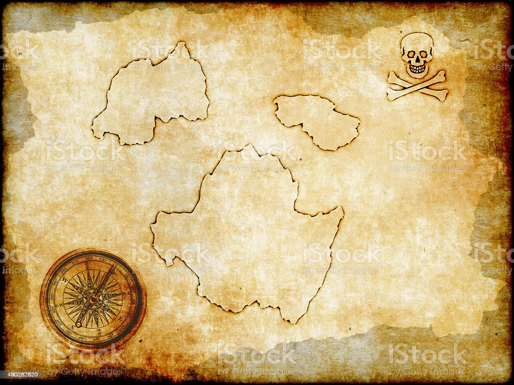 Pirate map on vintage paper stock photo