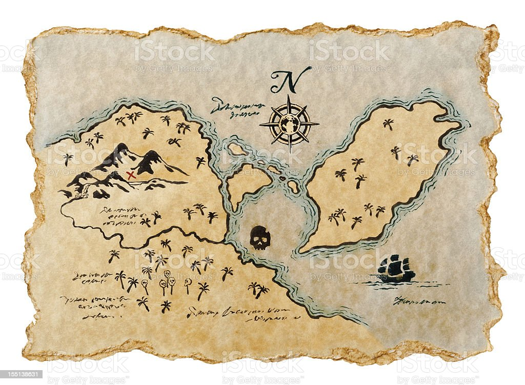 Pirate Map to Buried Treasure, Isolated on White. Horizontal. royalty-free stock photo