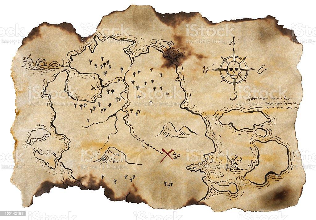 Pirate Map to Buried Treasure, Isolated on White. Horizontal. stock photo