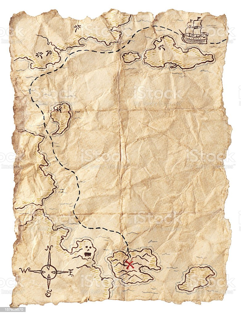 Pirate Map to Buried Treasure. Isolated on White. stock photo