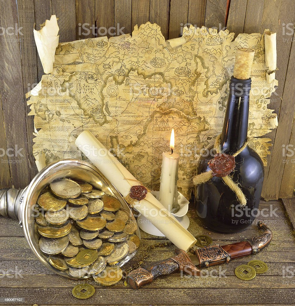 Pirate map with candle royalty-free stock photo