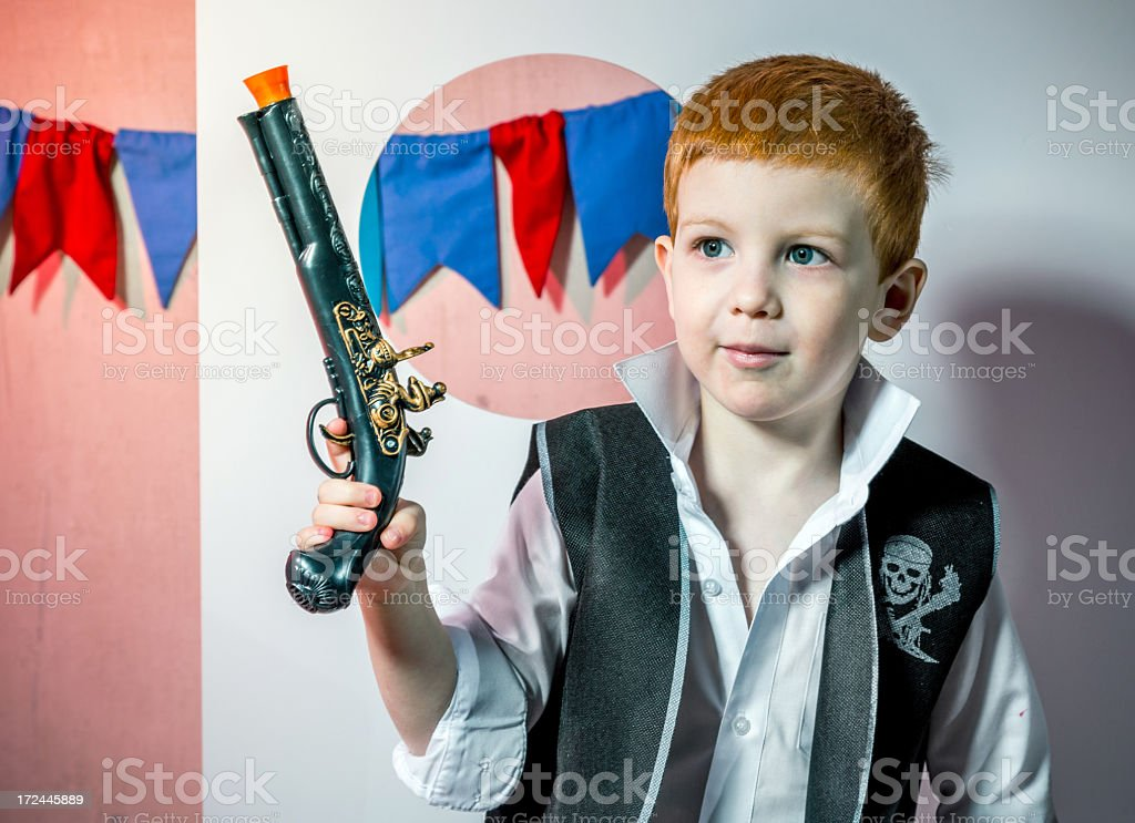 Pirate named Fiery head and his pistol royalty-free stock photo
