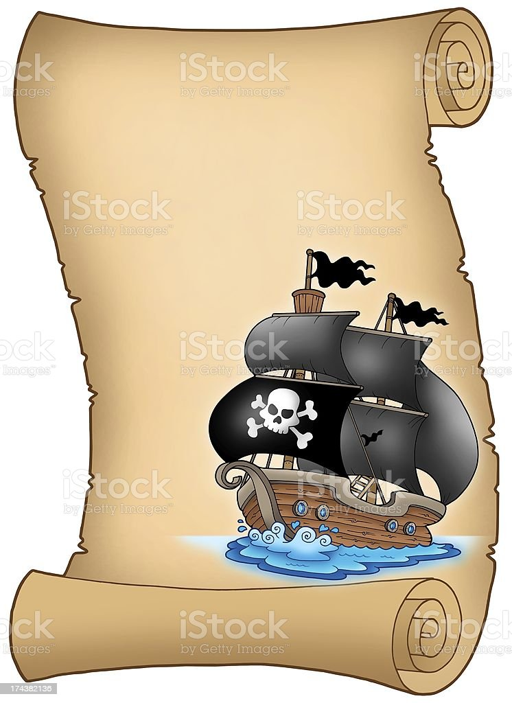 Pirate parchment with misty sailboat royalty-free stock photo