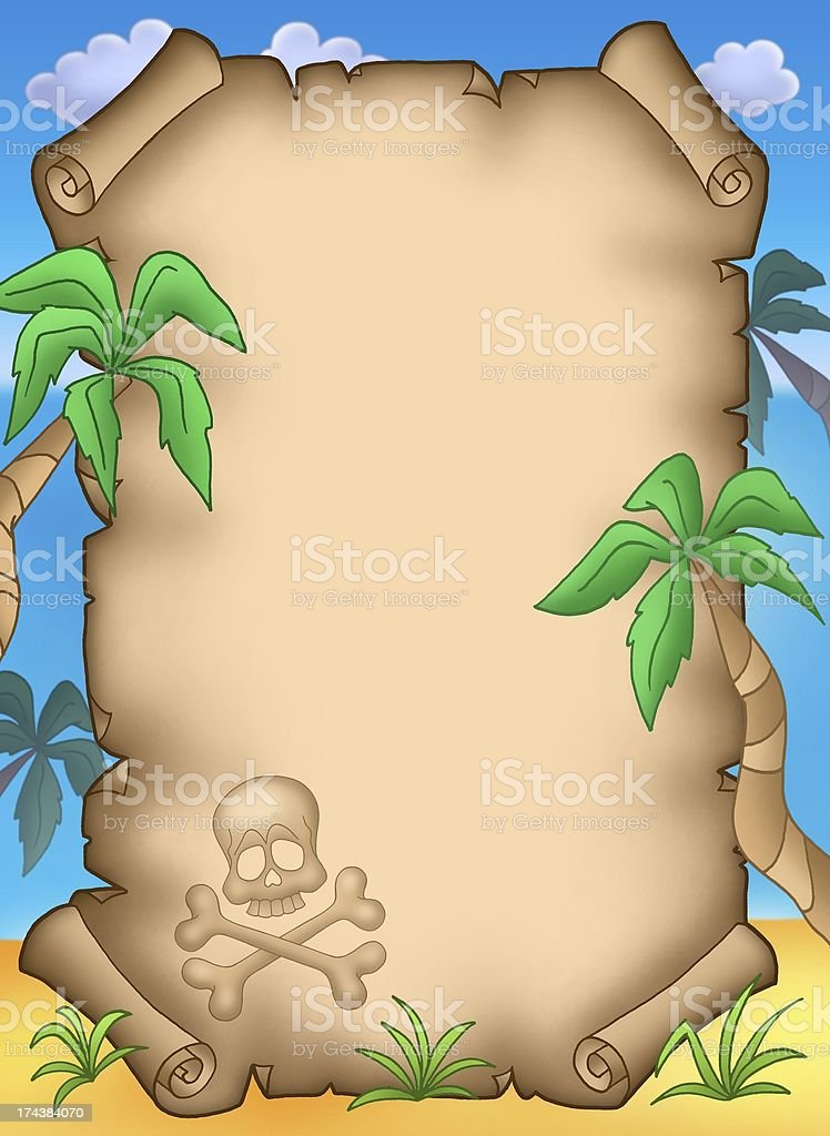 Pirate parchment with palms royalty-free stock photo