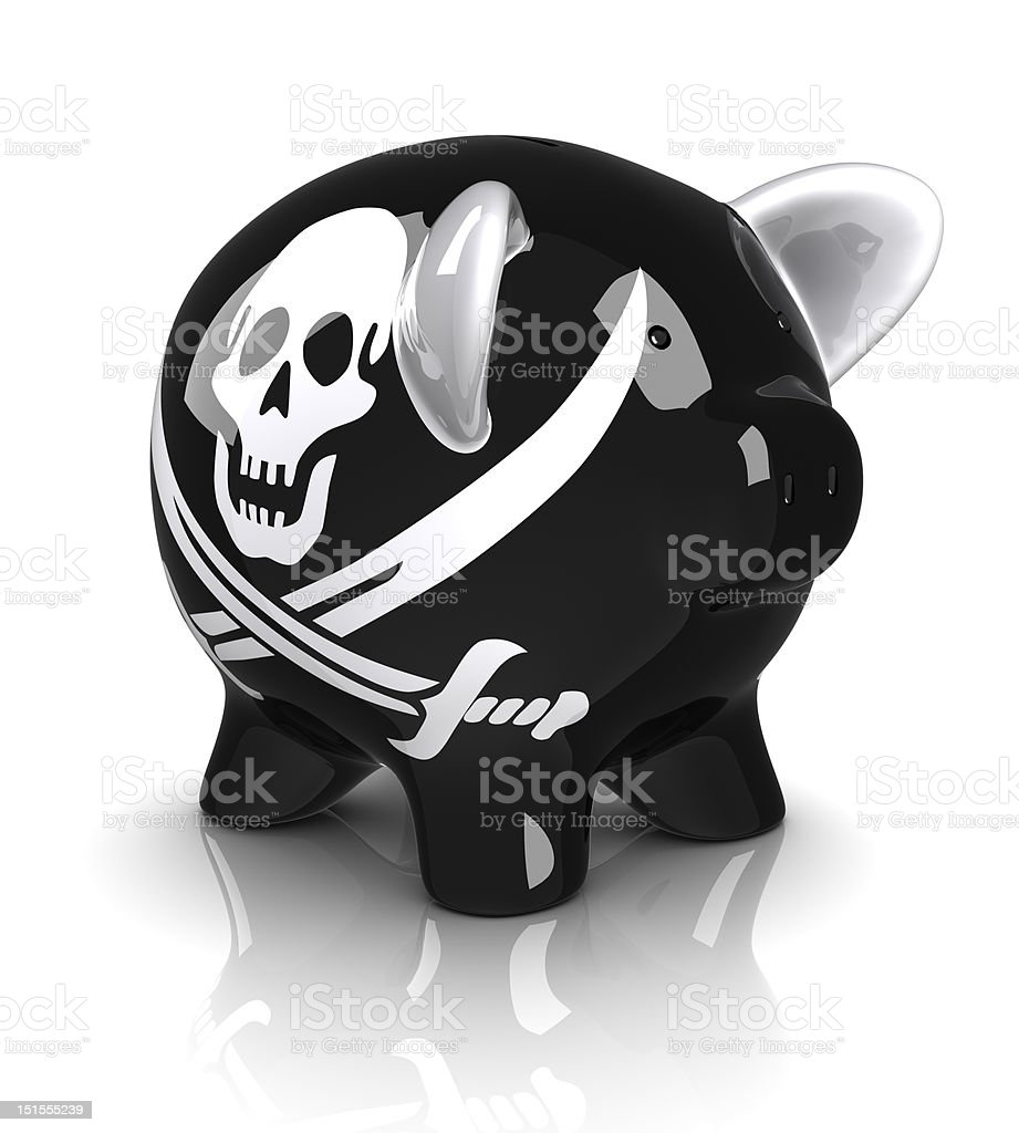 Pirate Piggy Bank (Isolated) stock photo