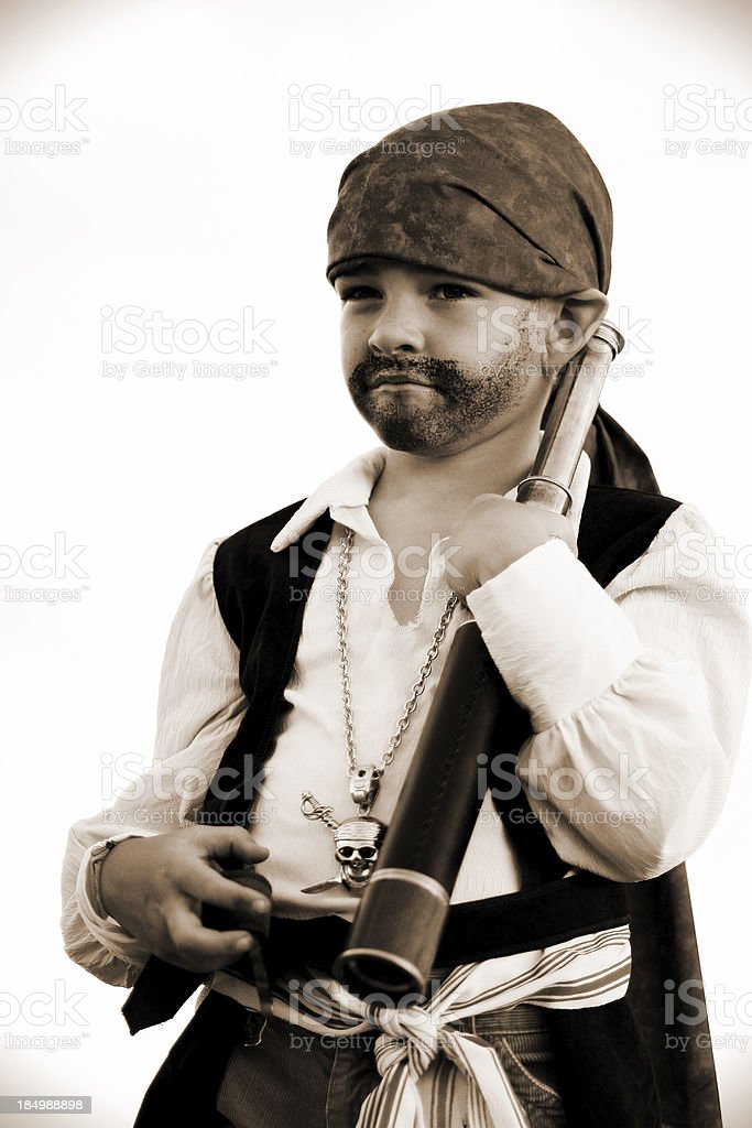 Pirate Portrait (Sepia) royalty-free stock photo