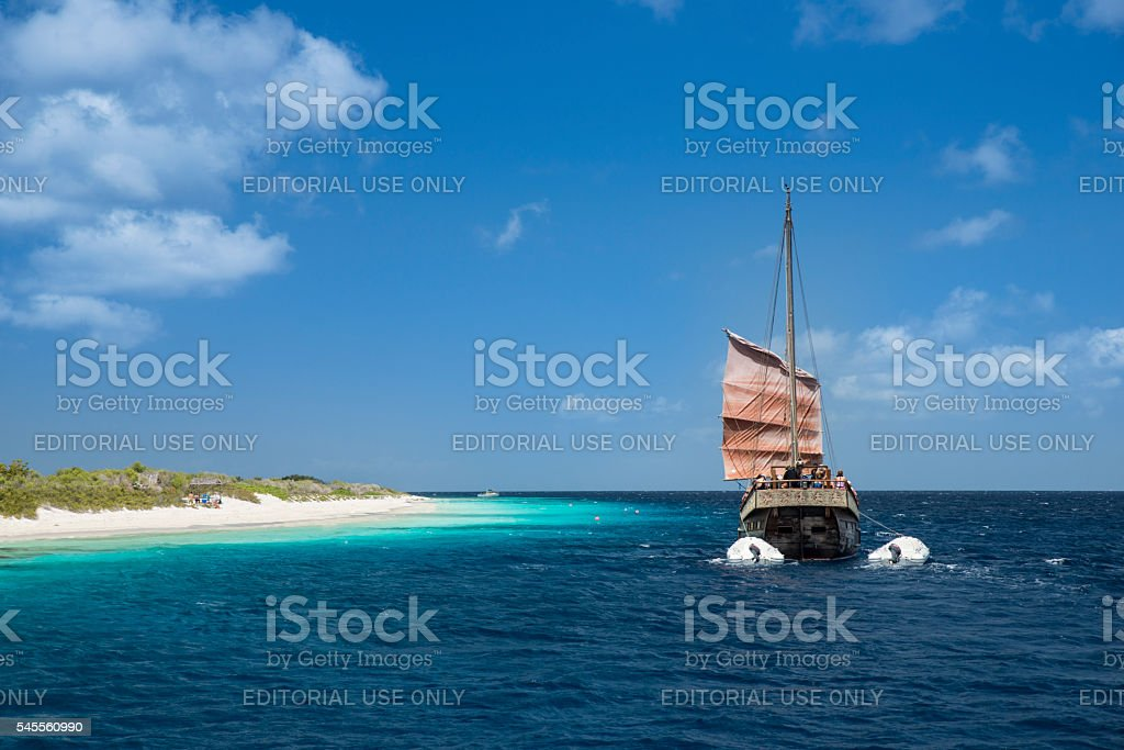 Pirate sailing boat Klein Bonaire royalty-free stock photo