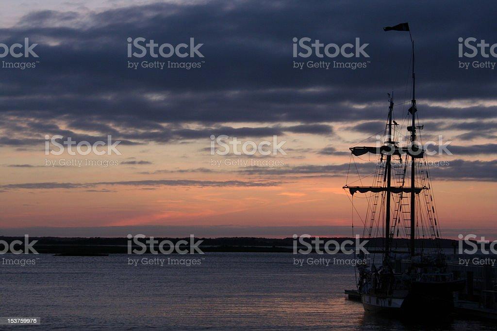 Pirate Ship at Sunset royalty-free stock photo
