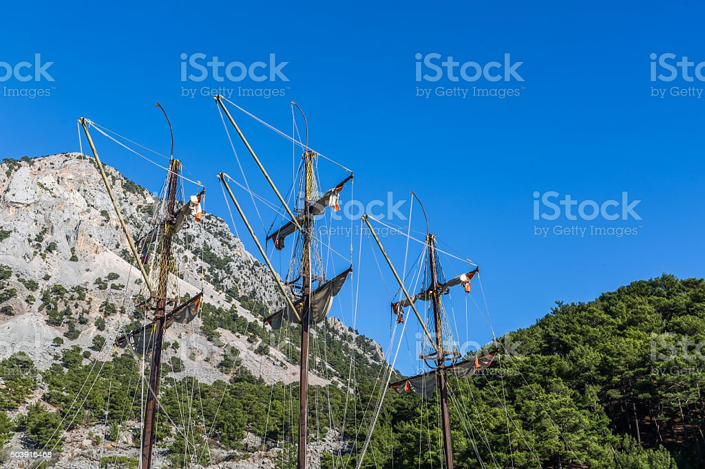 pirate ship canyon stock photo