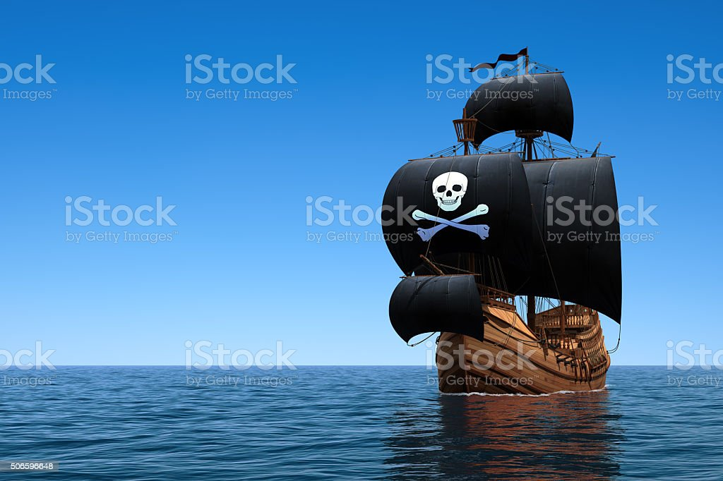 Pirate Ship In The Ocean stock photo