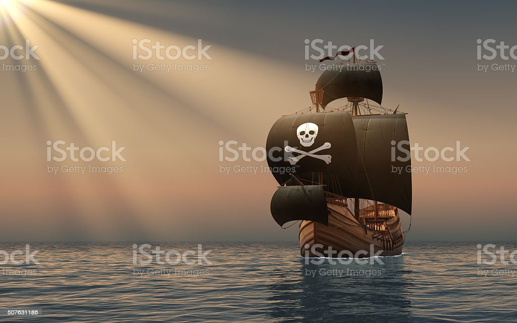 Pirate Ship In The Rays Of Sun stock photo