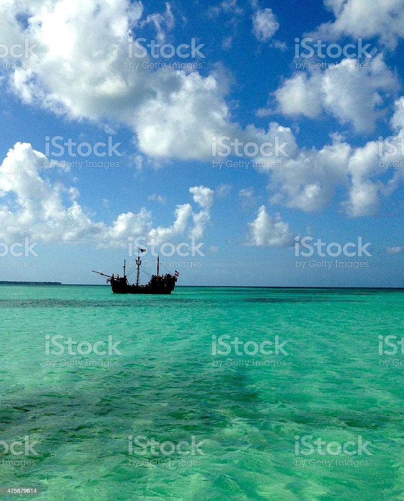 Pirate Ship in Turquoise Water stock photo