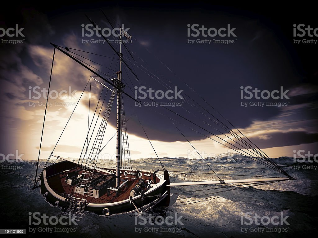Pirate ship on stormy weather stock photo