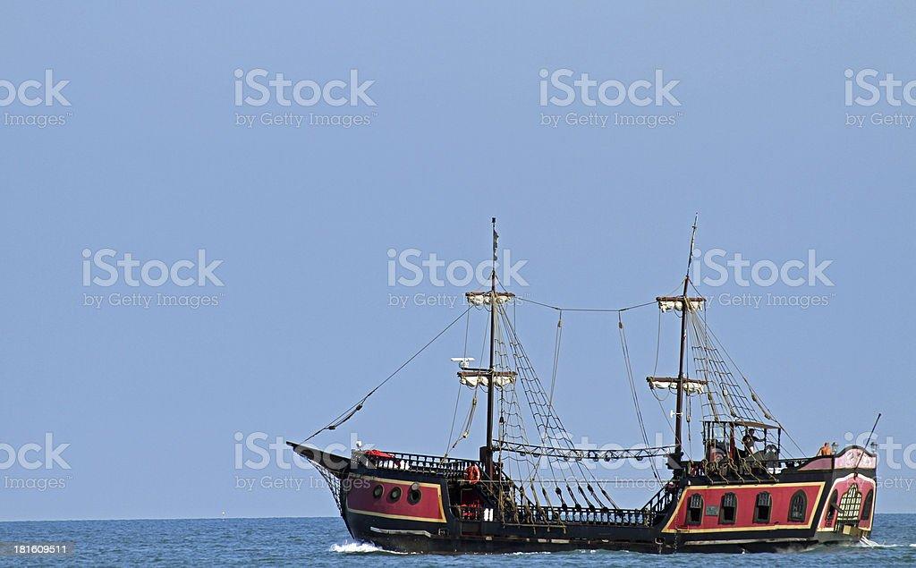 pirate ship sails the seas in search of Board stock photo