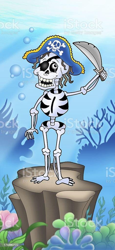 Pirate skeleton on sea bottom stock photo