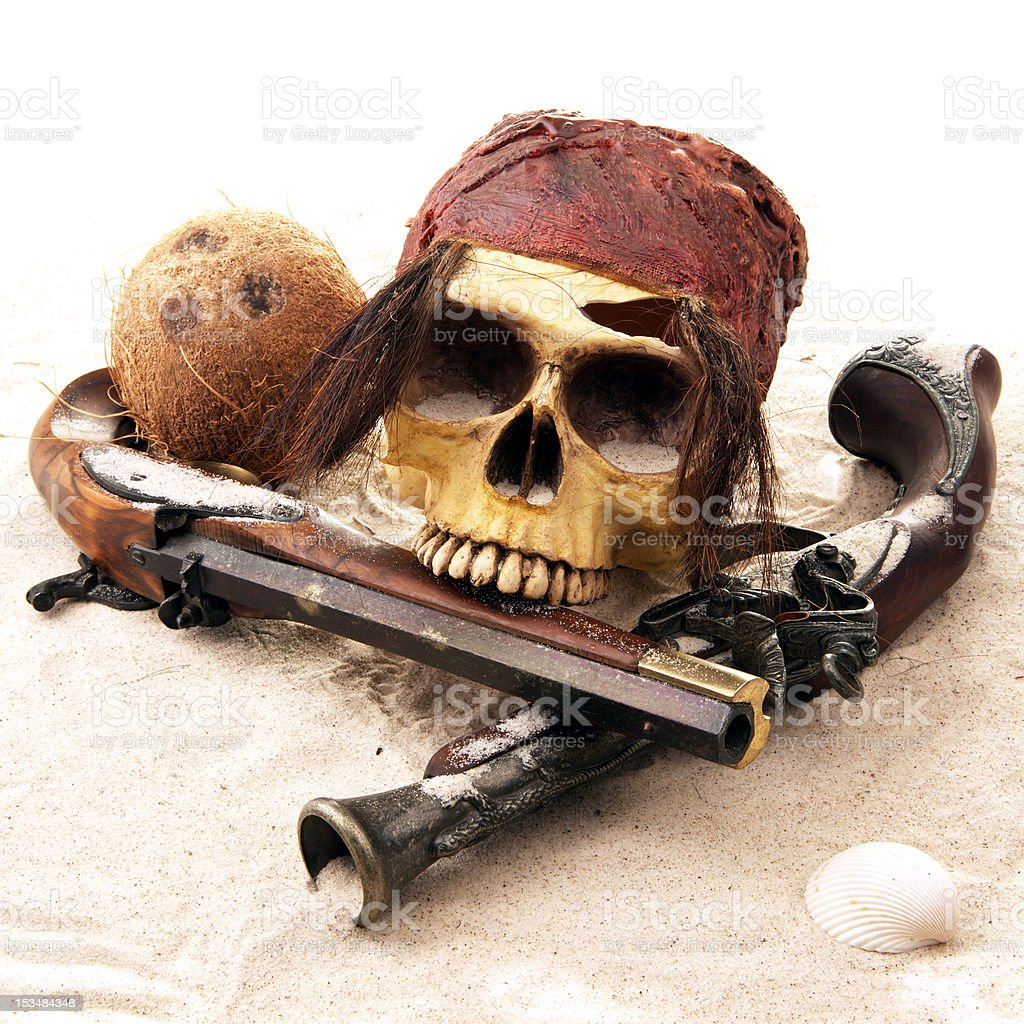 Pirate Skull at the Beach stock photo