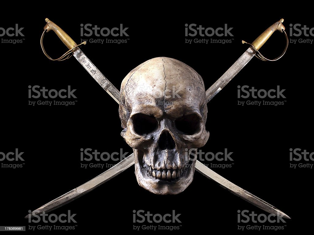 Pirate skull with crossed swords stock photo