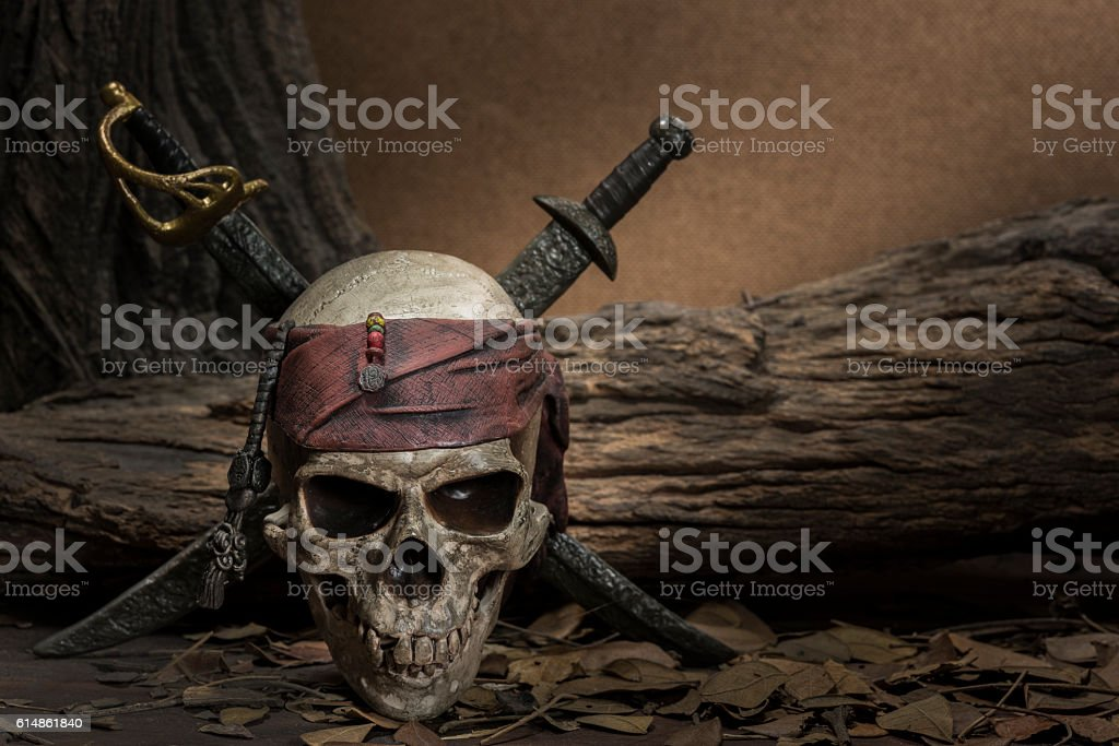 Pirate skull with two swords stock photo