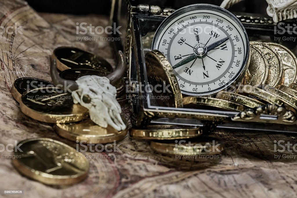pirate treasure and world map stock photo