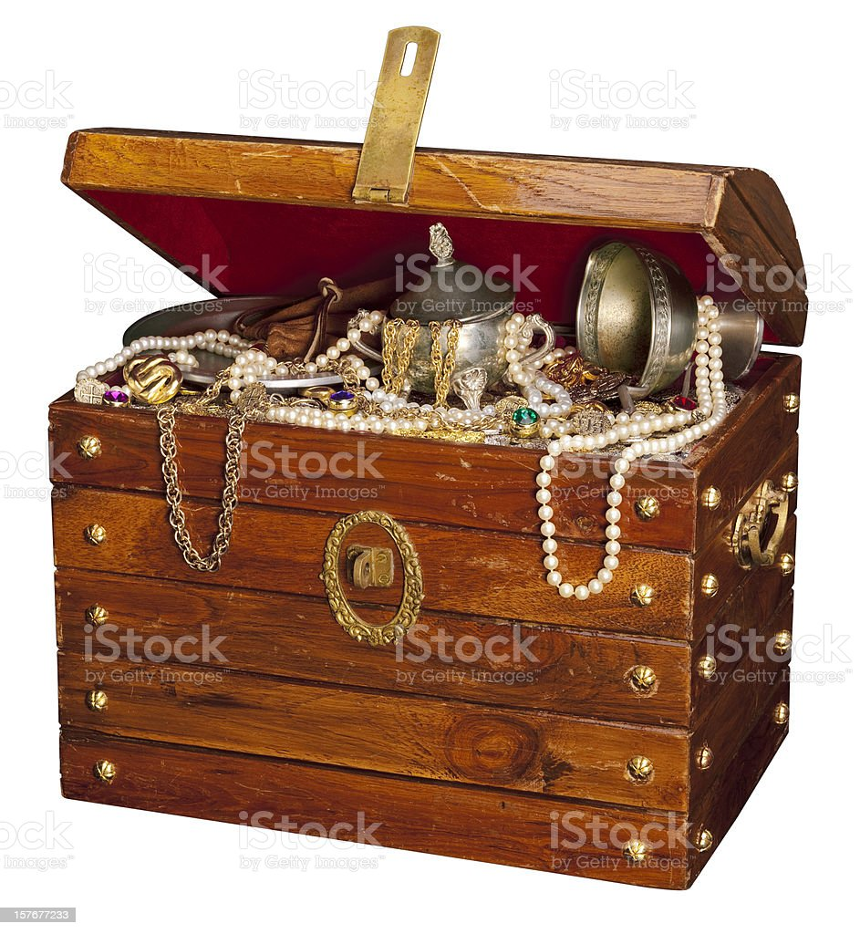 Pirate Treasure Chest, isolated on White. stock photo