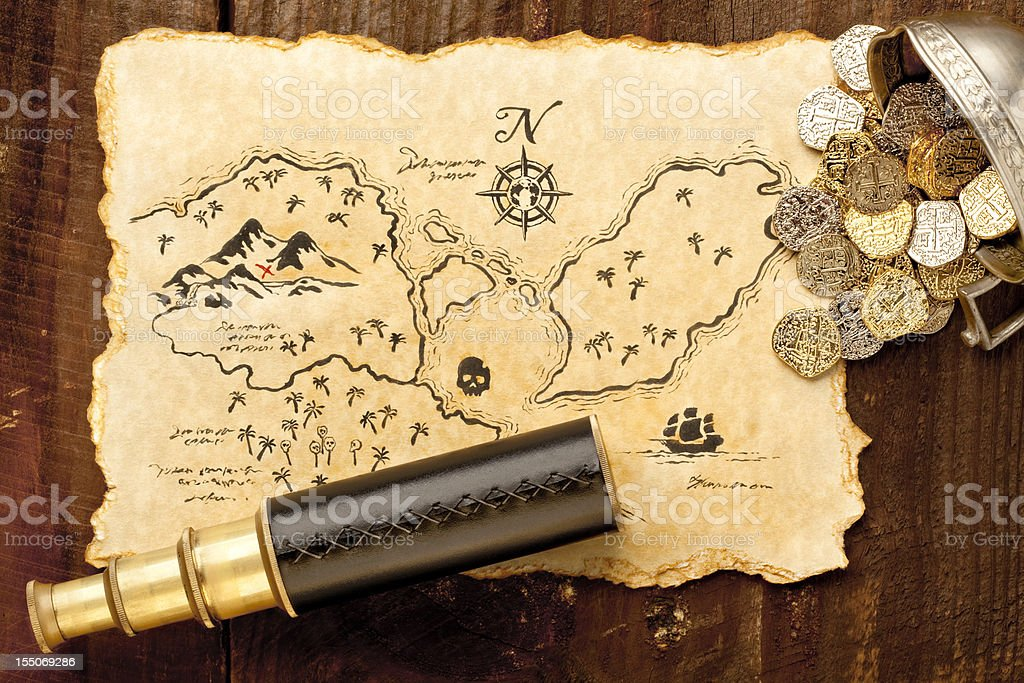 Pirate Treasure Map and Spy Glass. Full Frame. XXXL stock photo