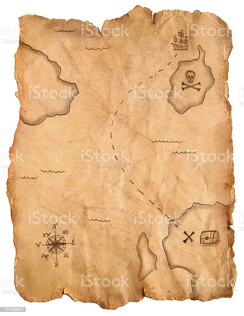Pirate treasure map stock photo