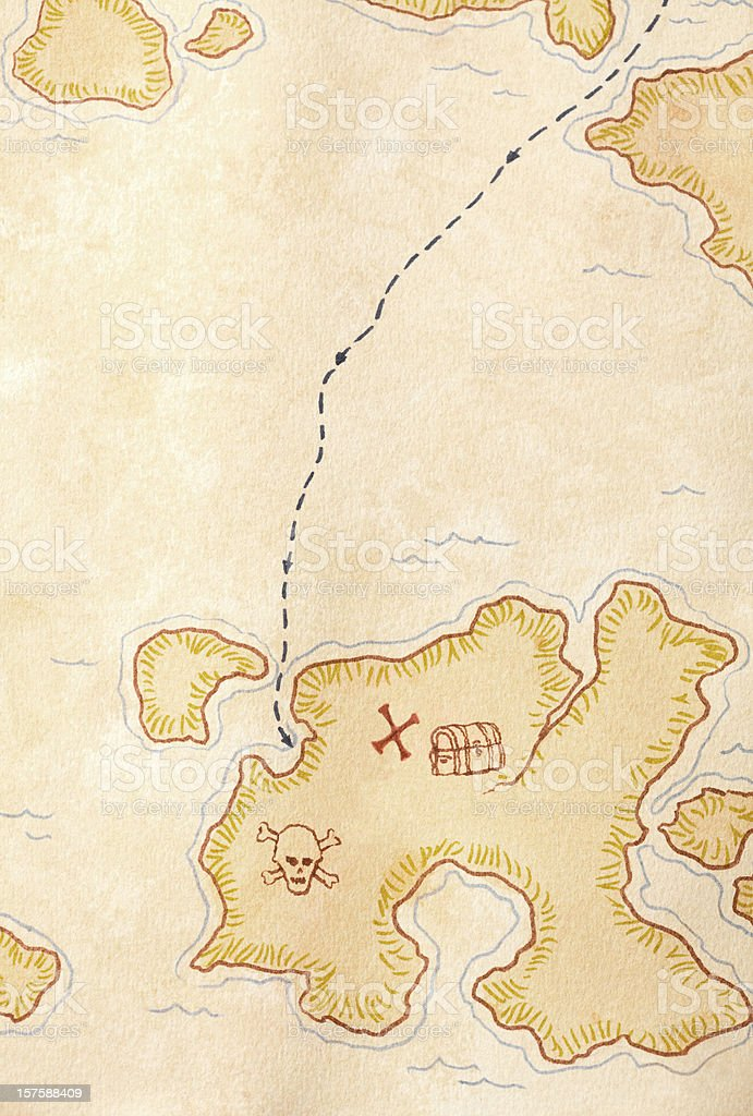 Pirate Treasure Map, X Marks the Spot. Full Frame. stock photo