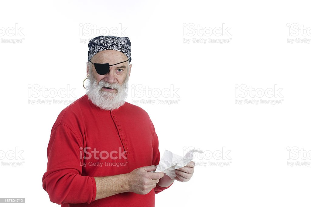 Pirate with Treasure Map stock photo