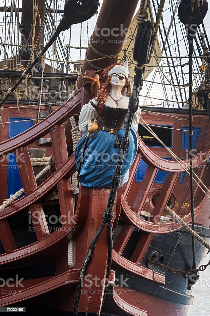 Pirate woman figurehead stock photo